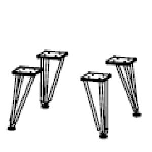 V-Fuß Weiß, 4 Stück, Höhe 18 cm