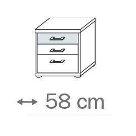 641U - 3 Schubkästen und Glasauflage - Breite 58 cm