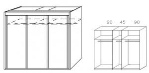 Breite 225 cm-3-türig / Holzdekor/Hochglanz