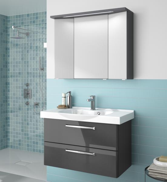Aquarell badm belset anthrazit 90 cm breit waschtisch - Spiegelschrank 90 cm breit ...