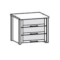 565853 Innenschubkästen für Kleiderschrank 1-türig, Bretie 47,6 cm, 3 Stück mit Glaseinsatz, inklusive Abdeckboden Lack weiß