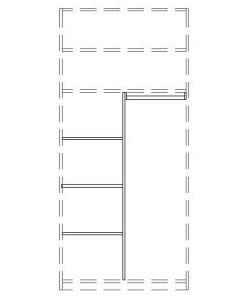 565902 T-Einteilungs-Set für Kleiderschrank 2-türig, bestehend aus Mittelseite, 3 Einlegeböden und Kleiderstange 47,6 cm