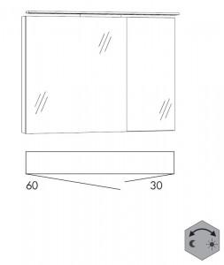 Spiegelschrank 90 cm SSFGZ63 (Lichfarbe ca. 3000 - 6500 Kelvin regelbar)