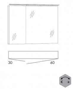 Spiegelschrank 90 cm SSFGZ36 (Lichfarbe ca. 3000 - 6500 Kelvin regelbar)