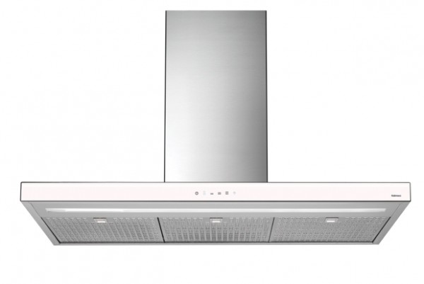 Falmec Luce I 90, Design, Inselhaube, 90 cm, Edelstahl / Glas weiß
