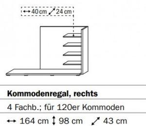 0660 Kommodenregal rechts - 4 Fachböden - für 120er Kommoden / Breite 164 cm / Höhe 98 cm / Tiefe 43 cm