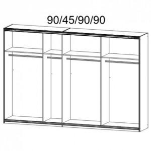 48K8 Breite - 315 cm, 2 Schwebetüren je 92 cm + 1 Schwebetüre 137 cm