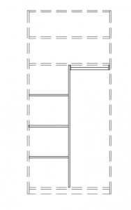 T-Einteilungs-Set für 2-türiges Schrankelement
