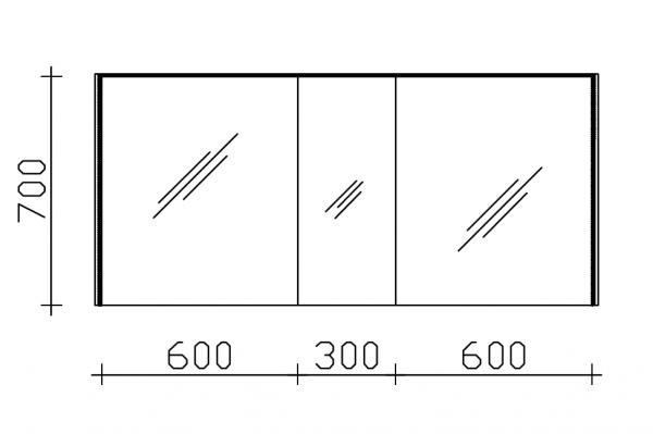 Pelipal Solitaire 6010 Spiegelschrank 154 cm 6010-SPSB 06