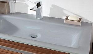 Glaswaschtisch - Nr. 83 Quarzitgrau mit 2 Hahnlöcher