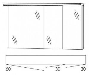 Spiegelschrank 120 cm SOBS633