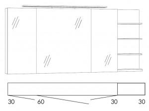 Spiegelschrank 150 cm SFLS363R / SFLS363RLS / SFLZ363R / SFLZ363RLS