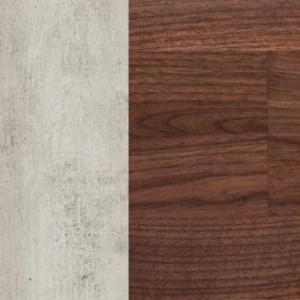 Korpus MDF betonfarbig lackiert / Schubladenfront massiv Nussbaum geölt