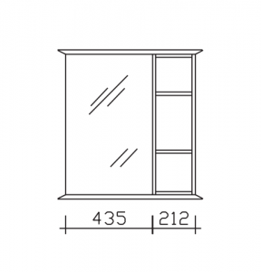 9030-SPS 03-L  = Spiegeltüre links / Regal rechts